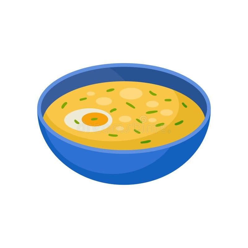 Blauwe kom soep met de helft van gekookt ei Smakelijke schotel voor diner Isometrisch vectorelement voor receptenboek of koffie royalty-vrije illustratie