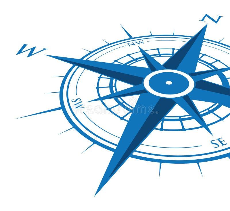Blauwe kompasachtergrond royalty-vrije illustratie