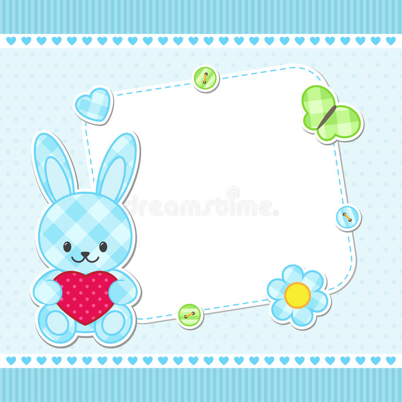 Blauwe konijntjeskaart stock illustratie