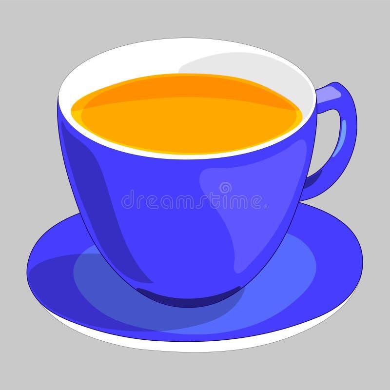 Blauwe Kop thee met schotel Ge?soleerd op grijze achtergrond Moderne Illustratie vector illustratie