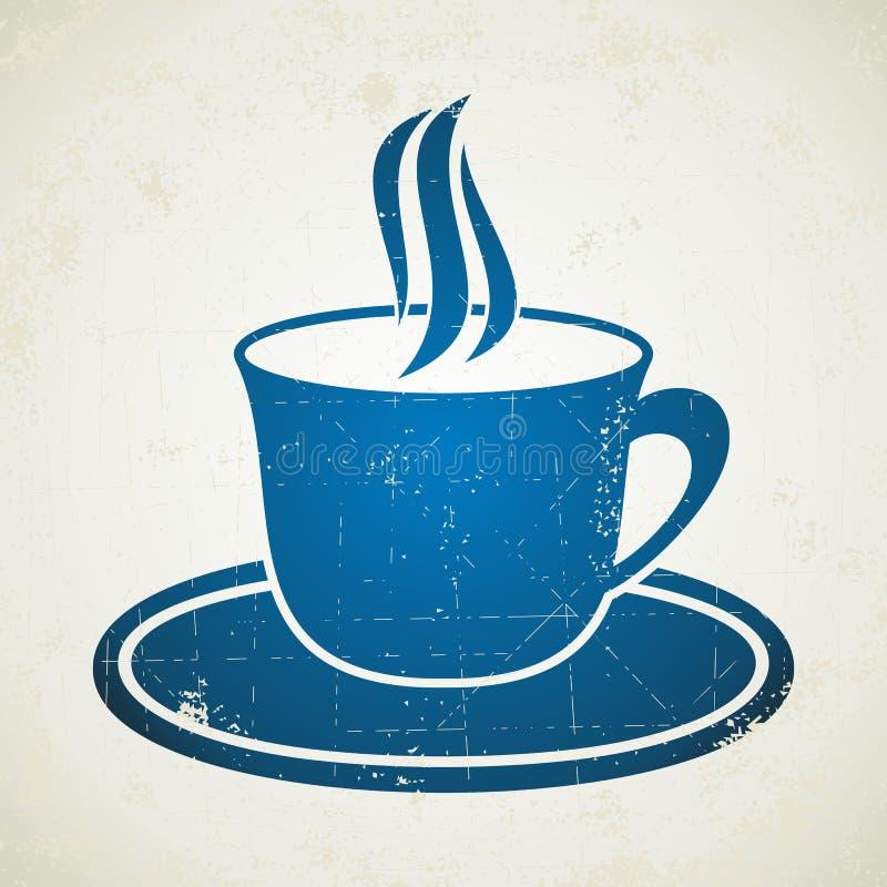 Blauwe kop van koffie vector illustratie