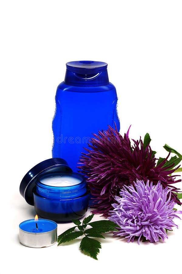 Blauwe kosmetische room stock foto