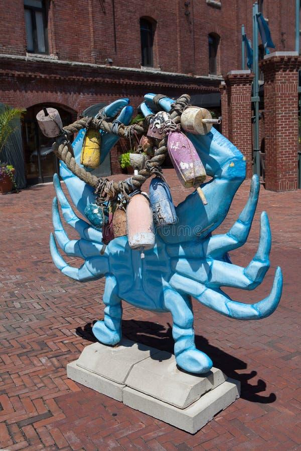 Blauwe Krab Scultpure stock foto's