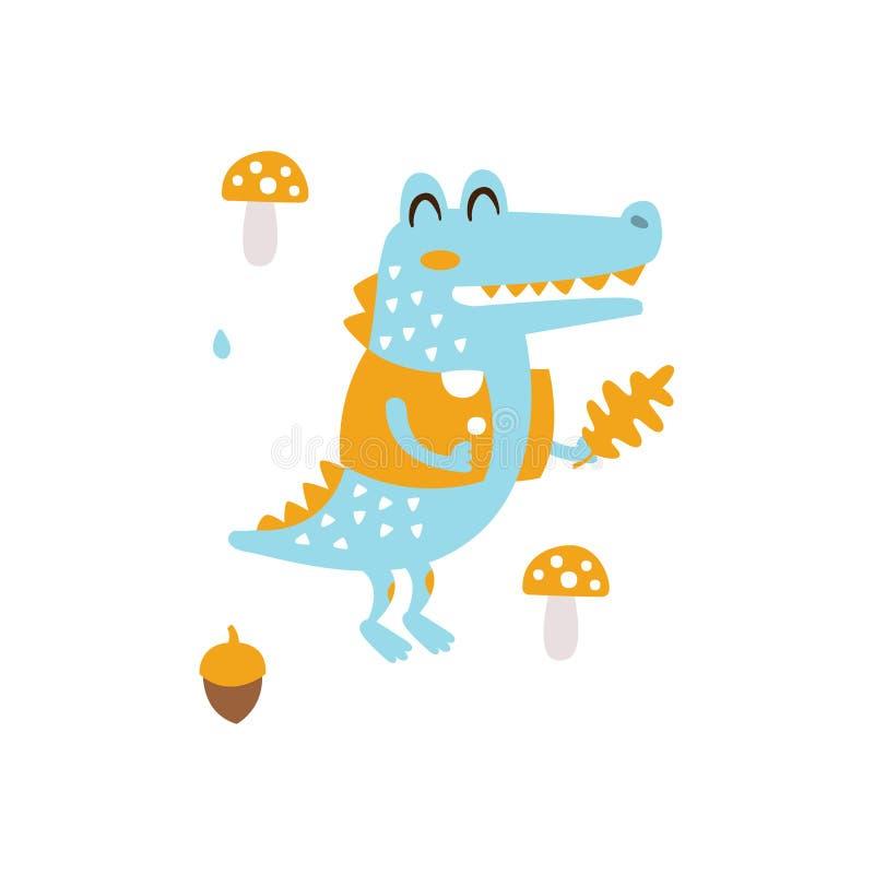Blauwe Krokodil in het Eiken Blad die van de Jasjeholding in Autumn Standing Upright Humanized Animal-Karakterillustratie binnen  royalty-vrije illustratie