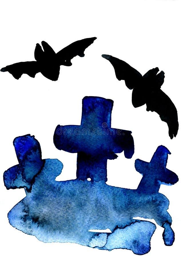 Blauwe kruisen en knuppels vector illustratie