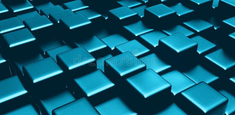 Blauwe kubussen 3d gecreeerde achtergrond stock afbeelding