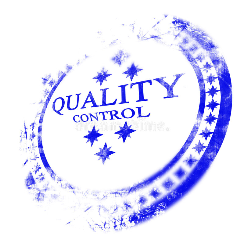 Blauwe kwaliteitsbeheersing zegel vector illustratie