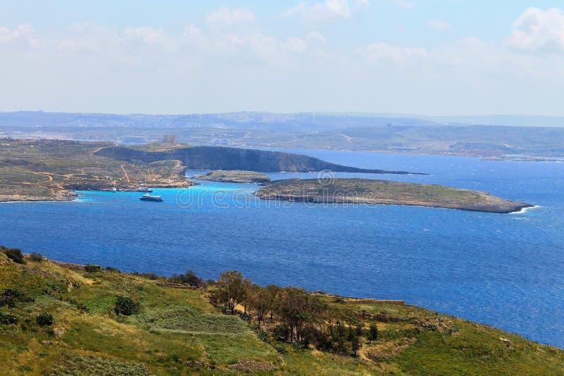Blauwe lagune bekijkt Gozo Island royalty-vrije stock afbeeldingen
