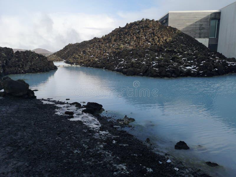 Blauwe lagune in IJsland, geotermal natuurlijke pool stock foto's