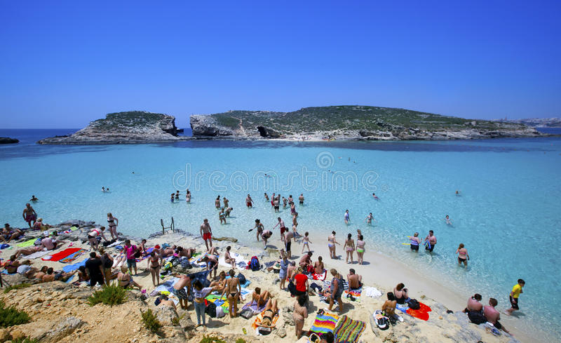 Blauwe lagune in Malta royalty-vrije stock fotografie
