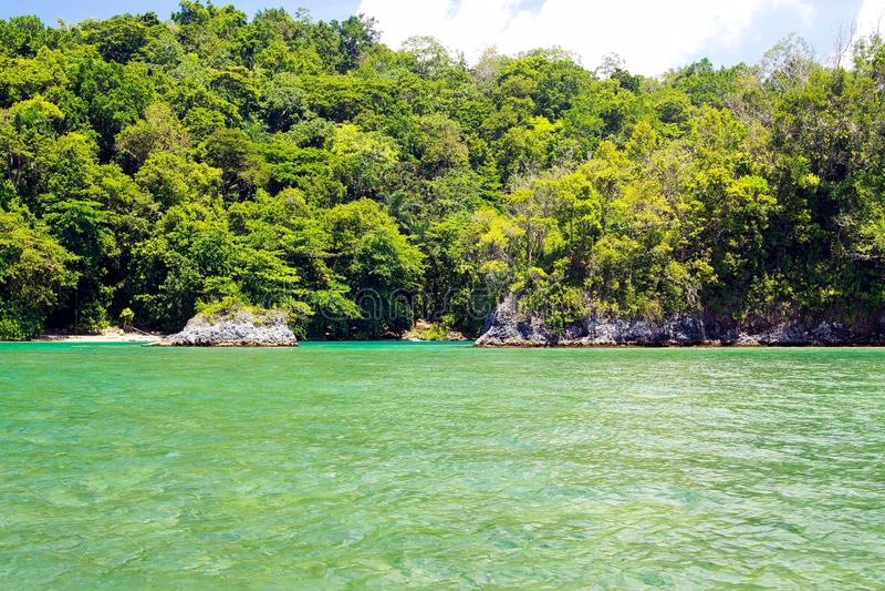 Blauwe lagune in Portland, Jamaïca stock fotografie