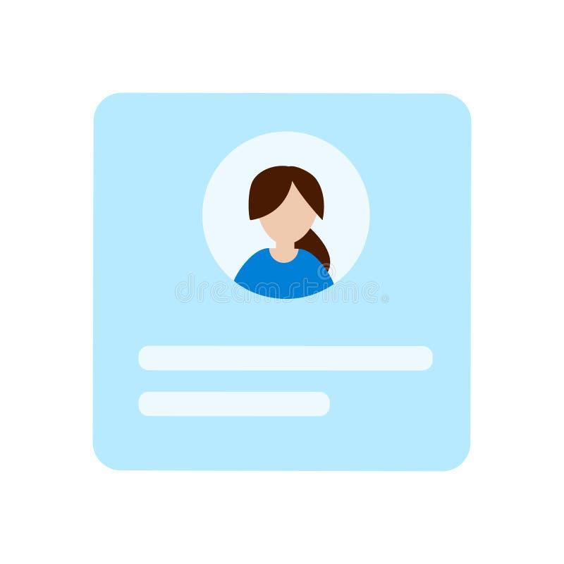 Blauwe lege plastic identiteitskaart-vrouwenkaarten De identificatie van kentekenwerknemers vector illustratie