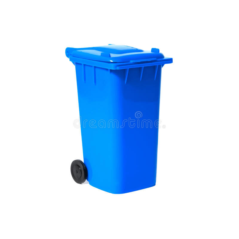 Blauwe lege recyclingsbak stock afbeelding
