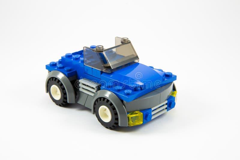 Blauwe legoauto royalty-vrije stock afbeeldingen