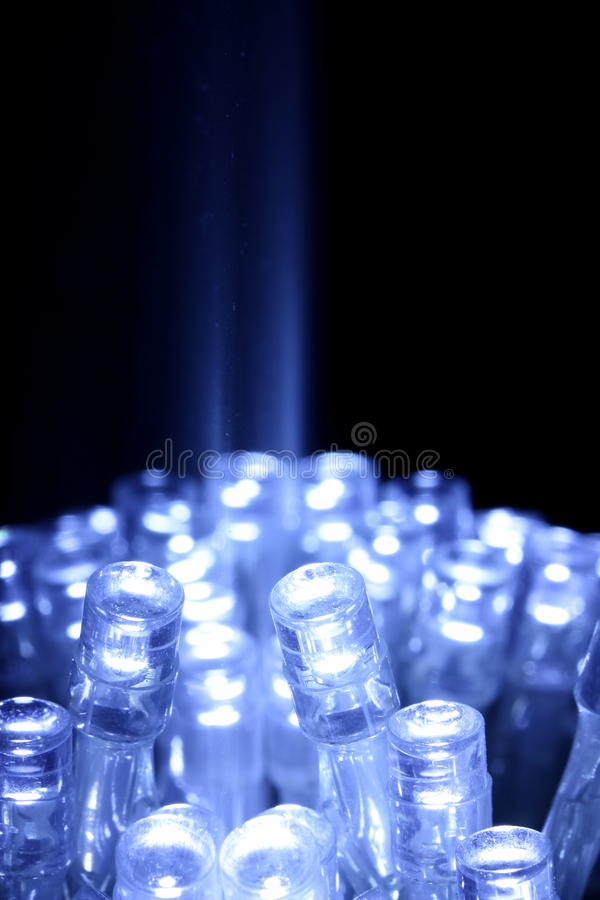 Blauwe LEIDENE lichtenclose-up met lichtstraal stock afbeelding