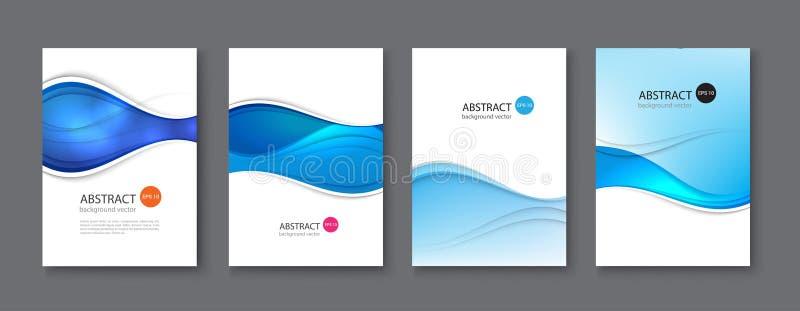 Blauwe lijn abstracte vastgestelde achtergrond Vector illustratie vector illustratie