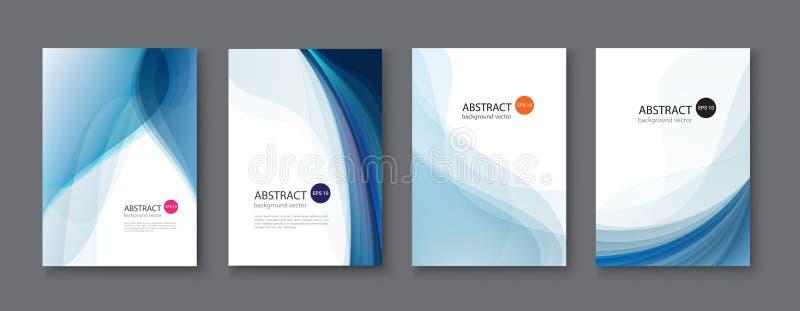 Blauwe lijn abstracte vastgestelde achtergrond Vector illustratie stock illustratie