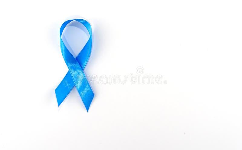 Blauwe lint symbolisch voor de bewustmakingscampagne voor prostaatkanker en de gezondheid van mannen royalty-vrije stock afbeelding