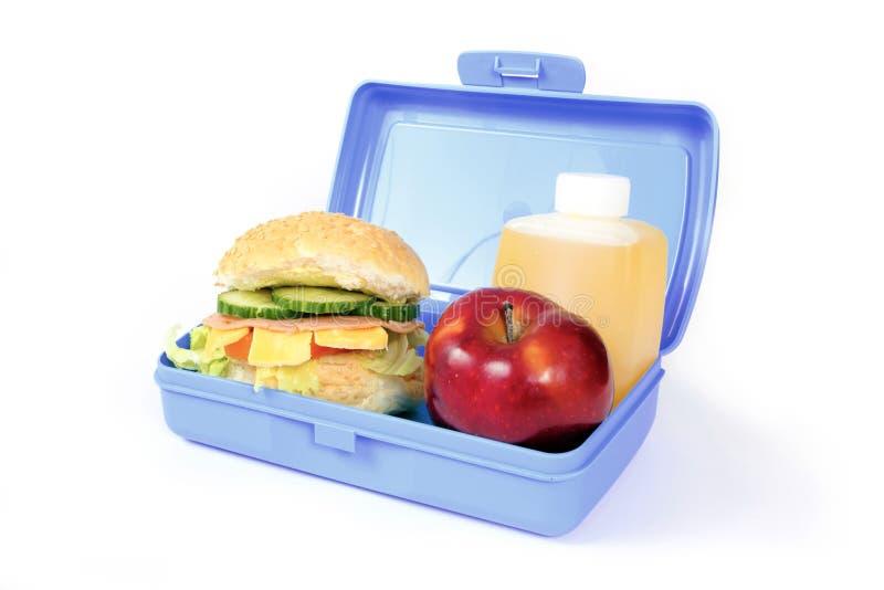 Blauwe lunchdoos stock foto's
