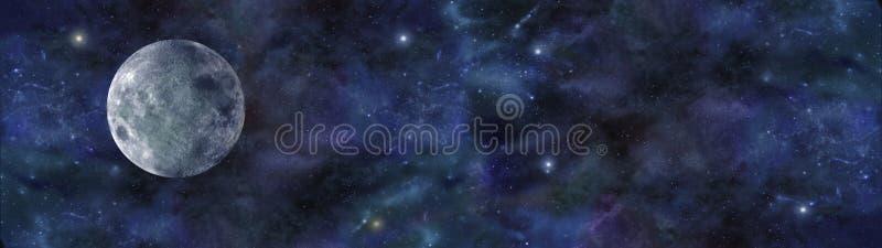Blauwe Maan Diepe Ruimtebanner royalty-vrije illustratie