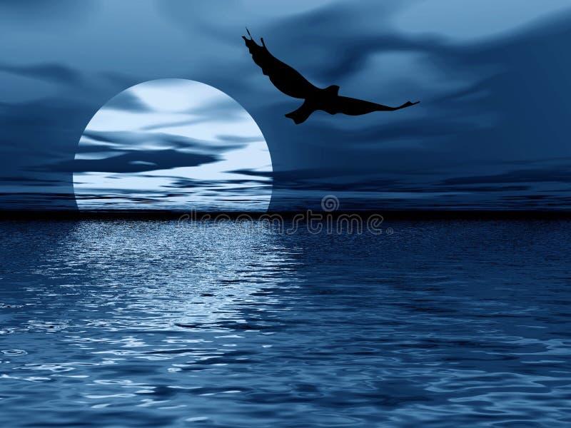 Blauwe maan en vogel royalty-vrije illustratie