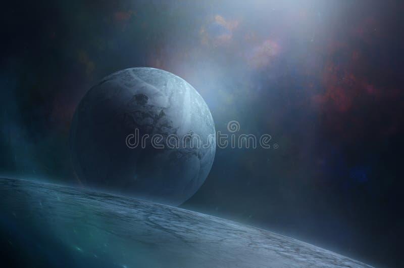 Blauwe maan over reuzeplaneet stock illustratie