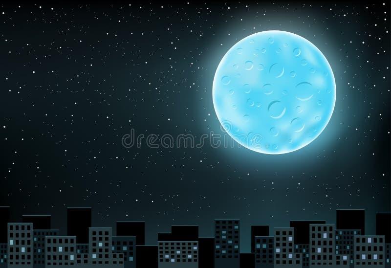 Blauwe maan over stad royalty-vrije illustratie