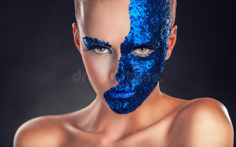 Blauwe Make-up stock fotografie