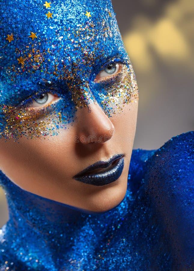 Blauwe Make-up royalty-vrije stock foto