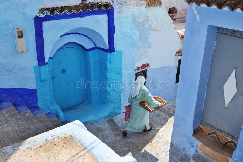 Blauwe medina van Chechaouen stock foto