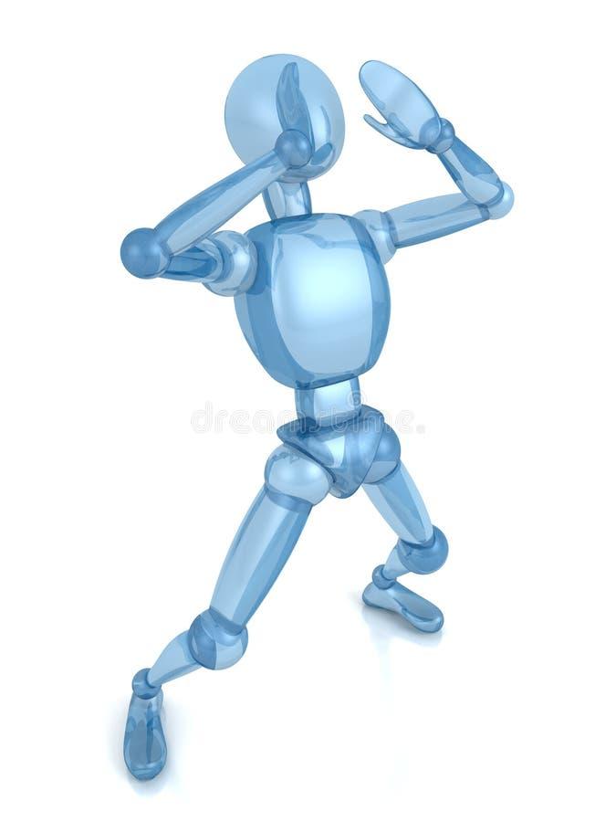 Blauwe menselijke persoonsmens die in de lucht gilt vector illustratie