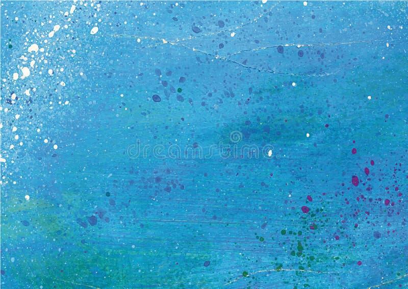 Blauwe met de hand gemaakte textuur met geploeterde vlekken stock fotografie