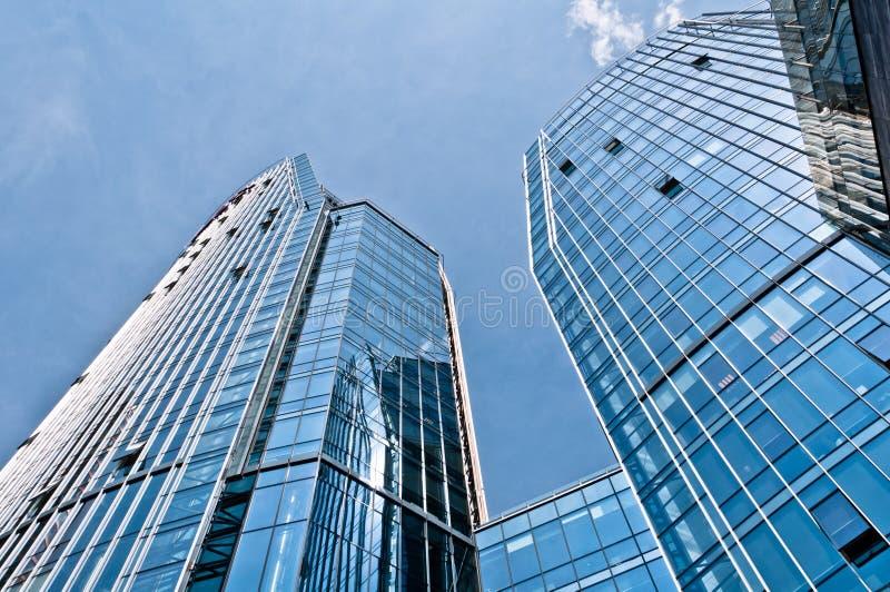 Blauwe Moderne Architectuurgebouwen stock foto