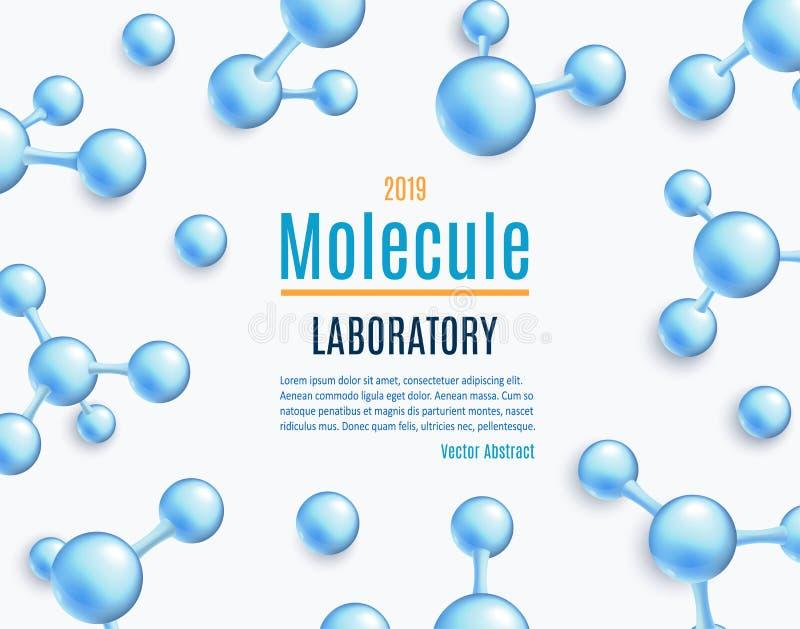 Blauwe molecule abstracte achtergrond - het moleculaire wetenschap en chemiebehang van het onderzoekconcept royalty-vrije illustratie