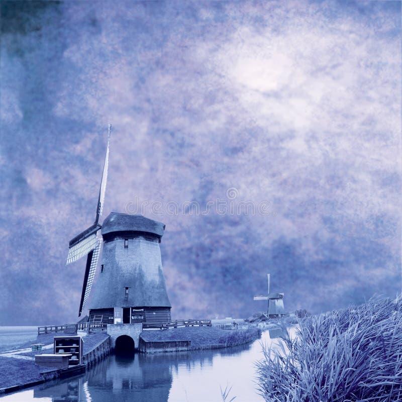 Blauwe molens stock fotografie