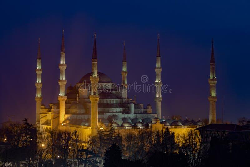 Blauwe Moskee bij Nacht stock foto