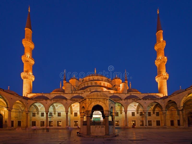 Blauwe Moskee bij Zonsondergang stock foto's