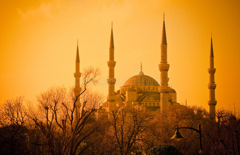 Blauwe Moskee bij zonsondergang, Istambul royalty-vrije stock afbeeldingen