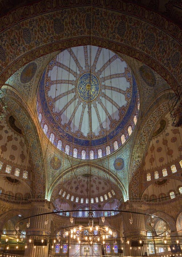 Blauwe Moskee Binnenlandse Koepel stock afbeelding