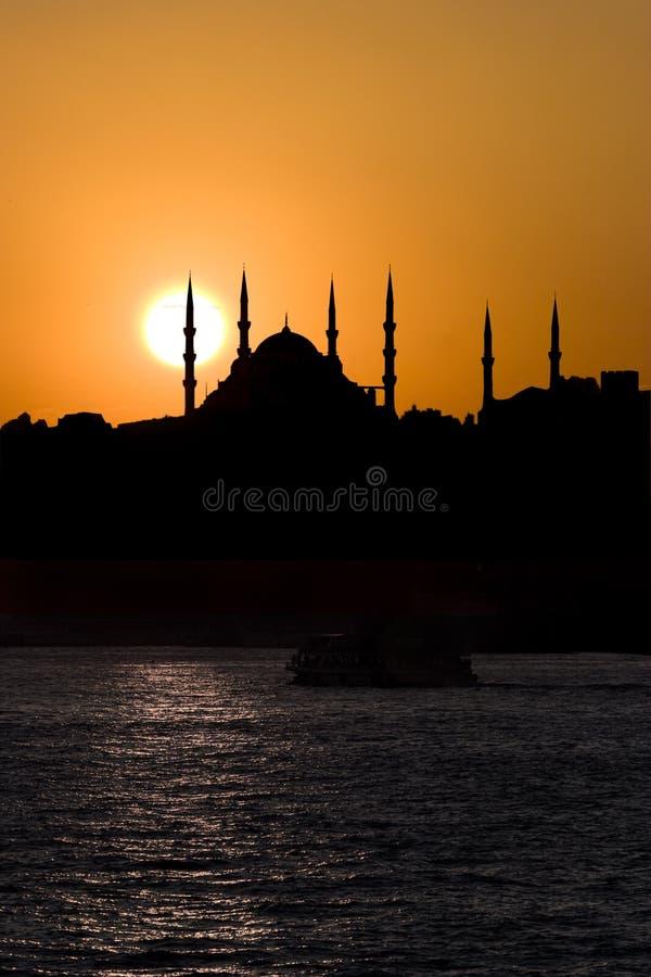 Blauwe Moskee en de Zonsondergang stock afbeeldingen