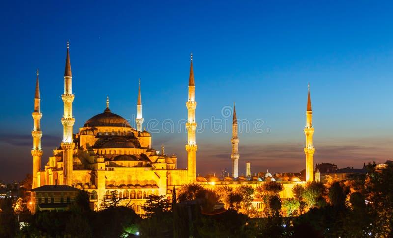 Blauwe Moskee in Istanboel, met zonsondergang stock afbeelding