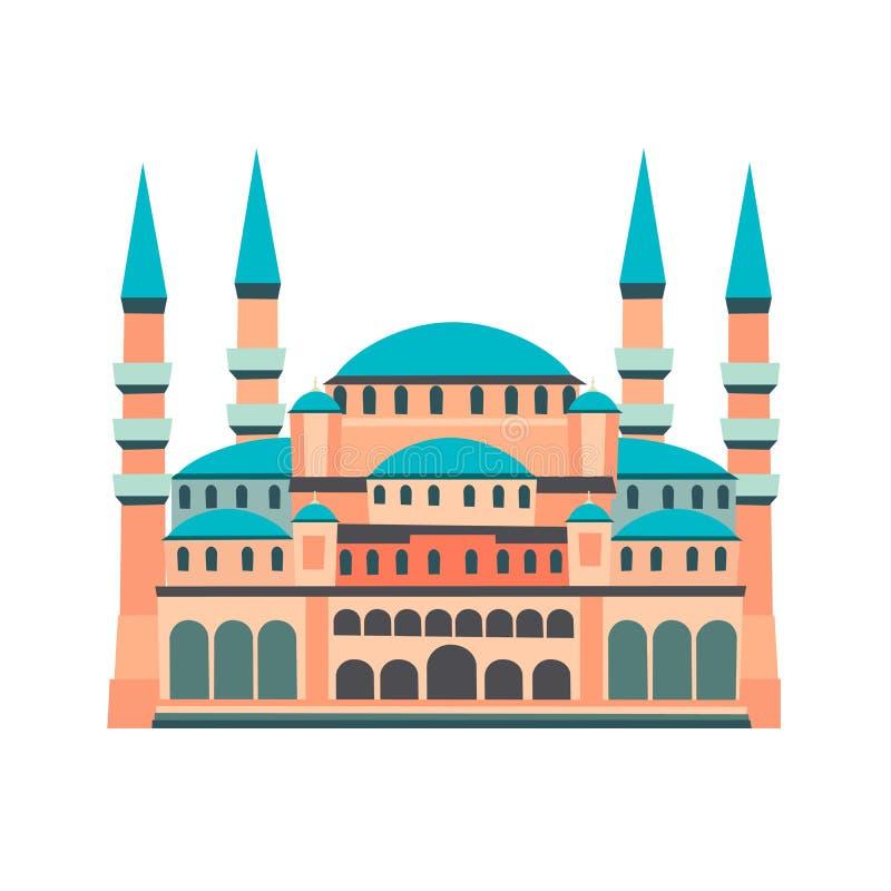 Blauwe Moskee vectordieillustratie, op witte achtergrond wordt geïsoleerd vector illustratie