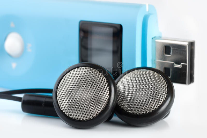 Blauwe MP3 speler stock fotografie