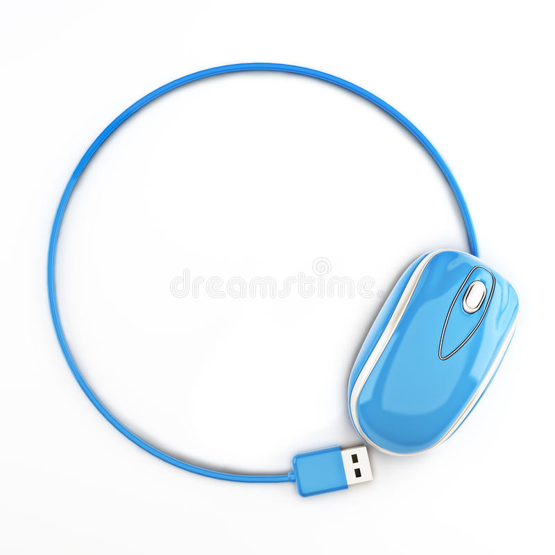 Blauwe muis in de vorm van een cirkel met ruimte voor uw tekst of exemplaar ruimtereclame vector illustratie
