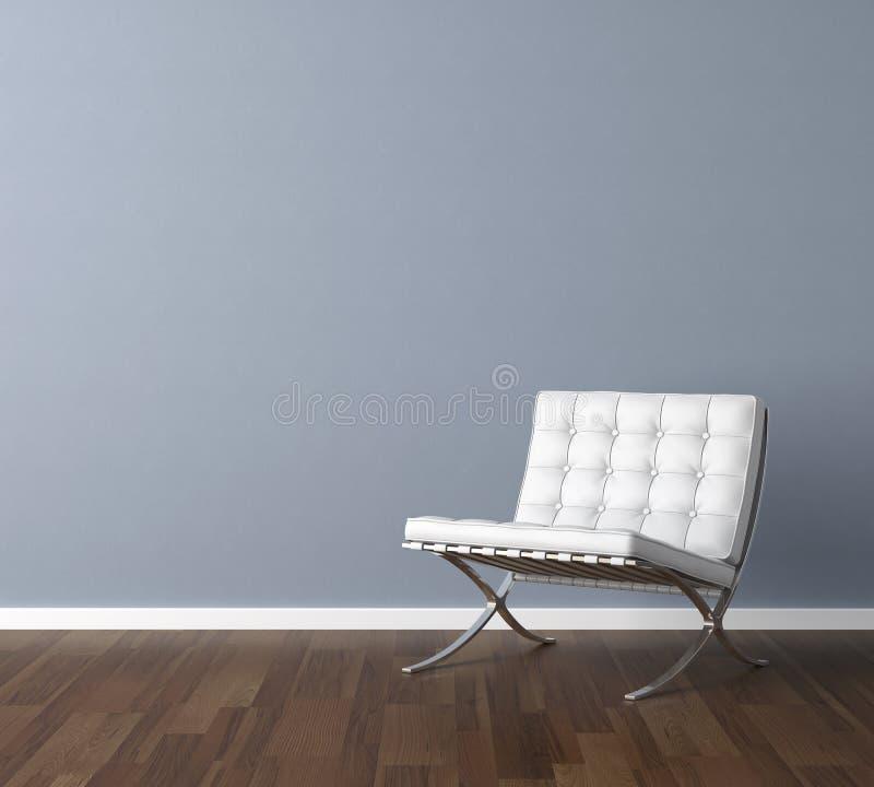 Blauwe muur met wit stoelbinnenland royalty-vrije illustratie
