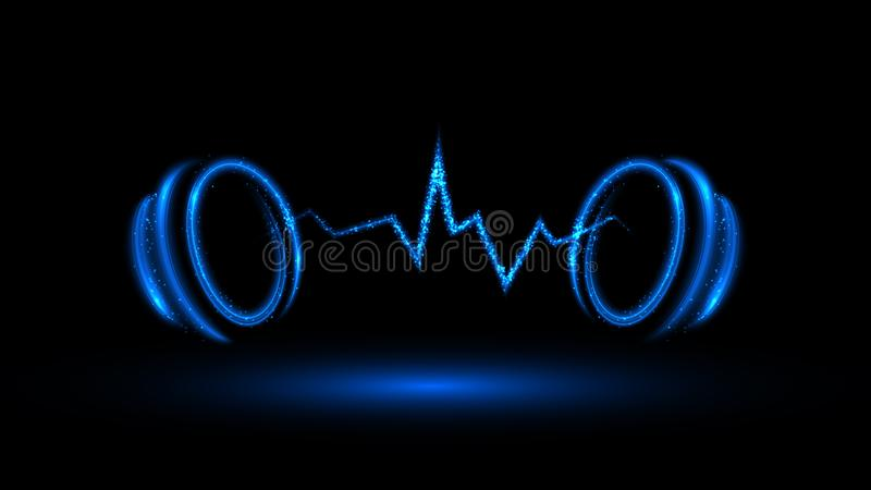 Blauwe muziekbanner royalty-vrije illustratie