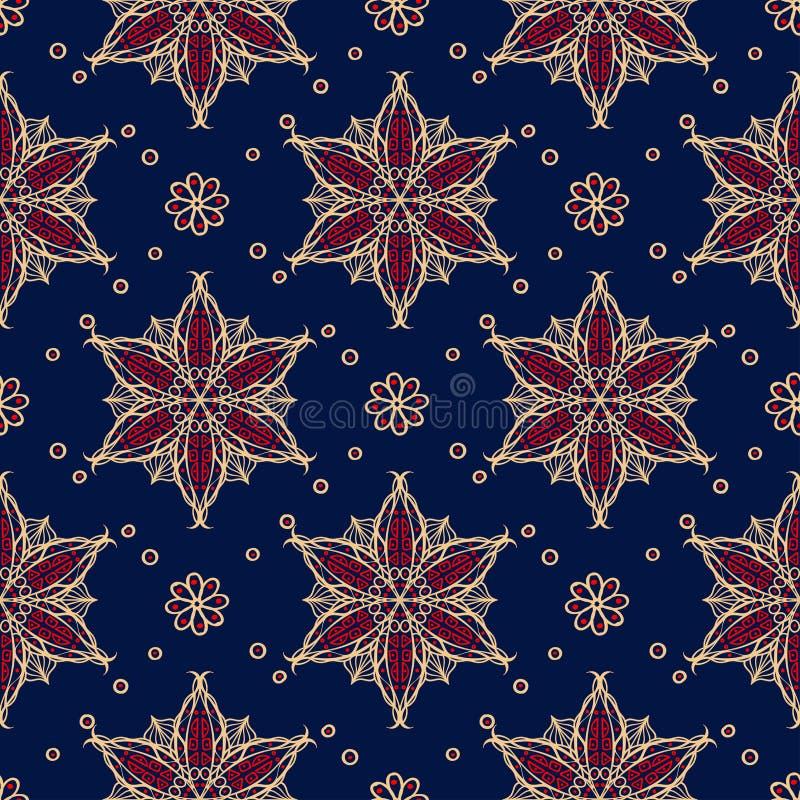 Blauwe naadloze achtergrond Bloemen beige en rood patroon royalty-vrije illustratie