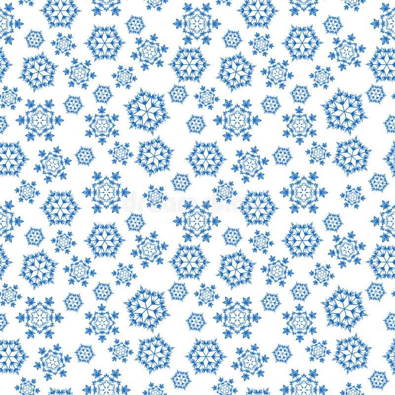 Blauwe naadloze achtergrond met sneeuwvlokken, royalty-vrije illustratie