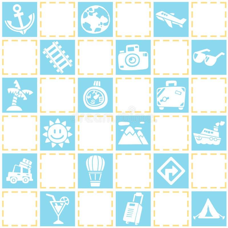 Blauwe naadloze achtergrond van reis/vakantiepatroonthema stock illustratie