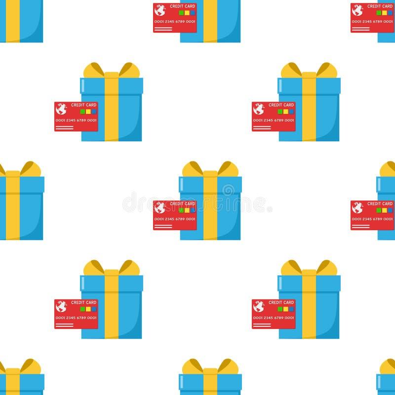 Blauwe Naadloze Gift en Rode Creditcard stock illustratie